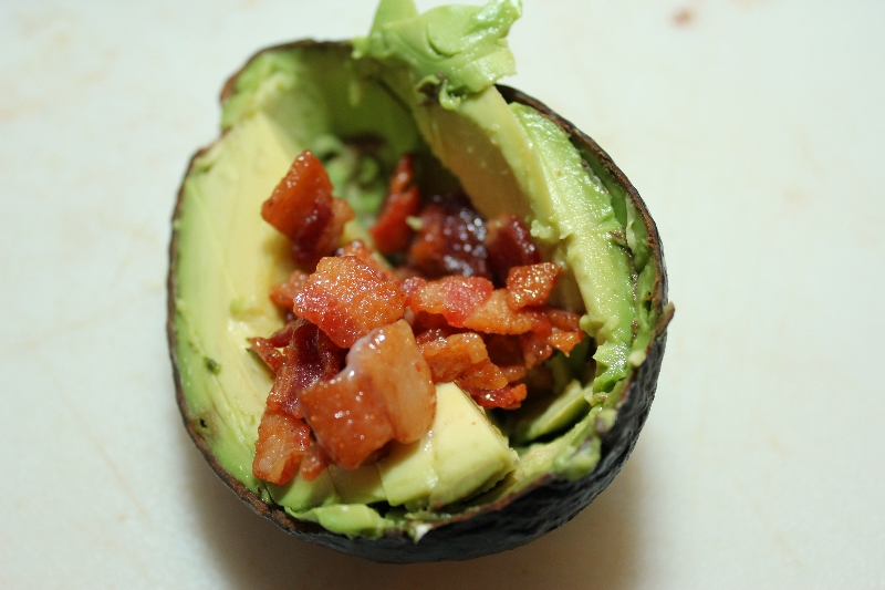Avocado with bacon