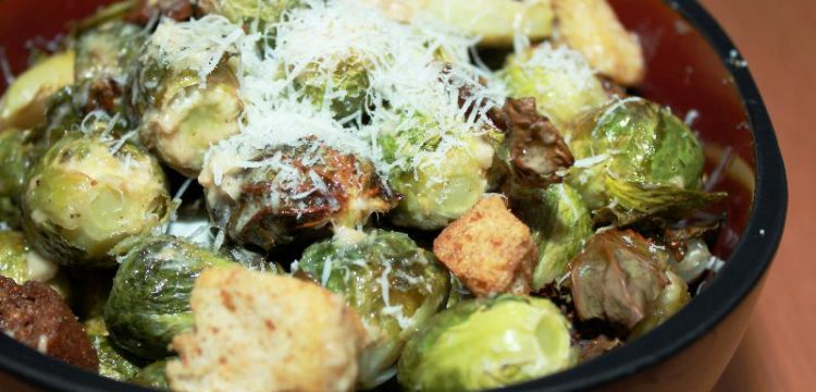 Roasted Brussels Caesar Salad | salad recipes | salad dressing recipes | BearandBugEats.com