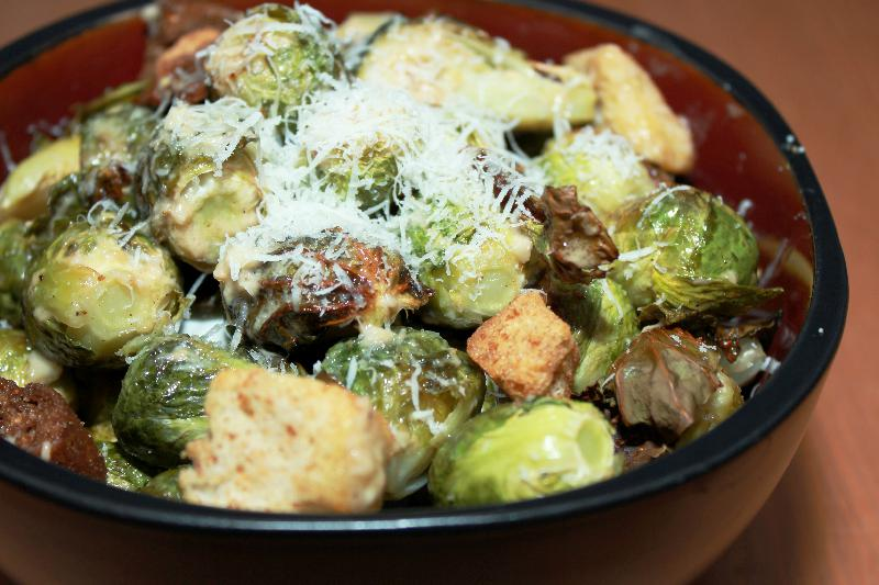 Roasted Brussels Caesar Salad with Delicious Homemade Dressing