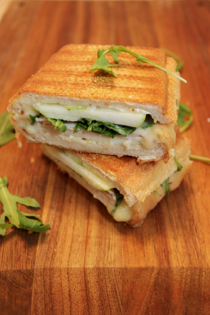 A healthy, savory sandwich with arugula, tart apple, and melty brie! | BearandBugEats.com