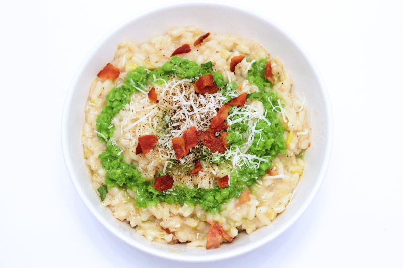 Spring Risotto with Bacon, Leeks, & Pea Puree | spring recipes | Easter recipes | Italian recipes | BearandBugEats.com