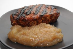 Vanilla Brined Pork Chops with Honeycrisp Applesauce for #AppleWeek! These moist chops and sweet homemade sauce make a wonderful fall dish!