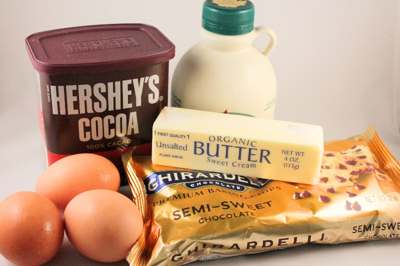 Ingredients for flourless dark chocolate cake