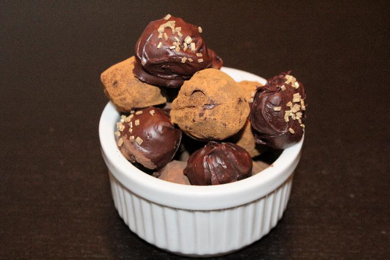 Bowl of finished dark chocolate mexican truffles