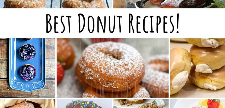 gallery of 9 pictures of different donuts. across it is a banner that says Best Donut Recipes!