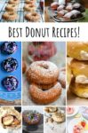 Collage of 9 photos of different kinds of donut. Across is a banner that says Best Donut Recipes!