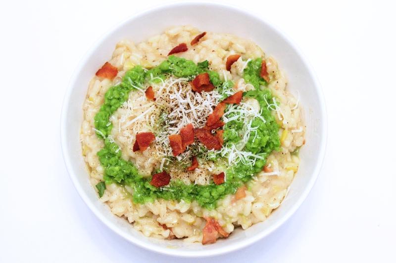 Spring Risotto with Bacon, Leeks, & Pea Puree | spring recipes | Easter recipes | Italian recipes | BearandBugEats.com