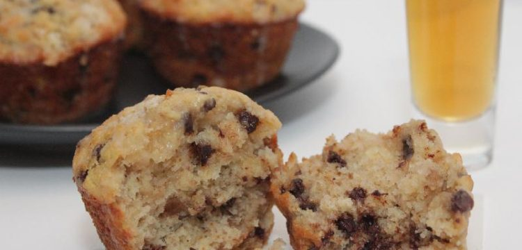 Bourbon-Spiked Banana Chocolate Muffins! Bananas, chocolate, and just enough bourbon come together in a snack, breakfast, or dessert recipe. | muffin recipes | boozy baking recipes | BearandBugEats.com