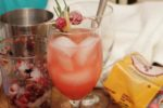 Meet the Pear Holly Cocktail! Tart cranberries meet sparkling rosé in a simple, delicious drink for your next holiday party! | cocktail recipes | #cranberryweek | BearandBugEats.com