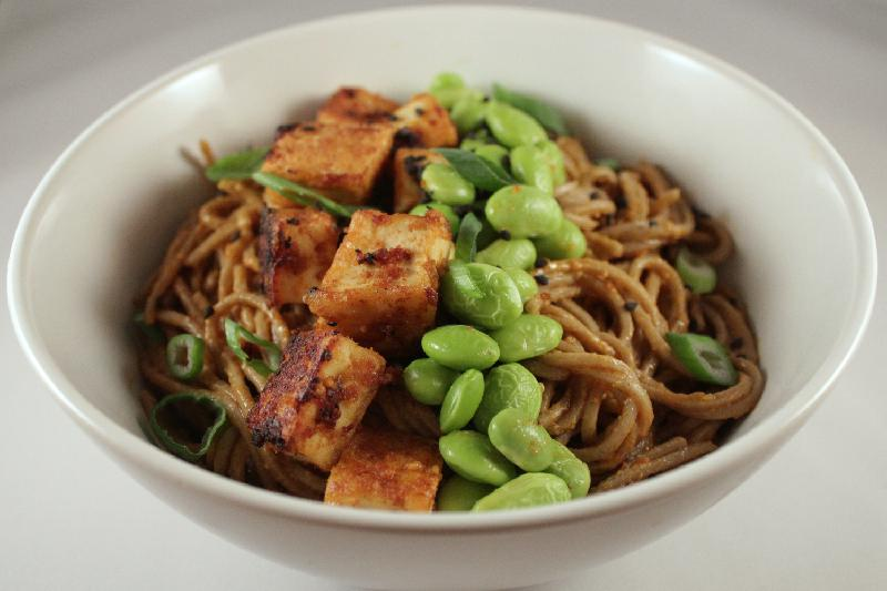 Closeup of Spicy Soba Protein Bowls