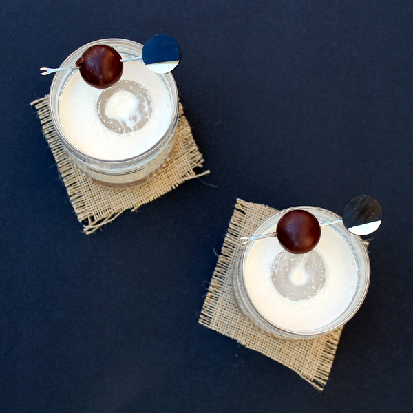 2 Godiva Cream cocktails, seen from above